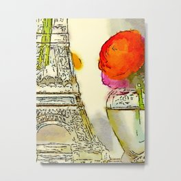 Persian Buttercup (Ranunculus asiaticus) and Eiffel Tower Water Color Fine Art Print Metal Print