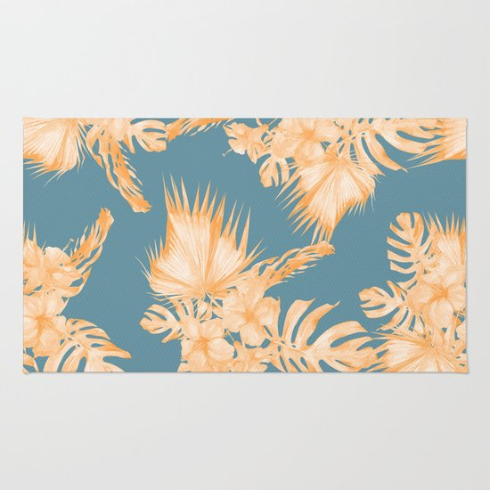 Hawaiian Hibiscus Palm Orange Teal Blue Rug By Simple Luxe