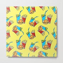 Fun Fast Food (seamless pattern in yellow) Metal Print