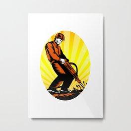 Construction Worker Jackhammer Oval Metal Print