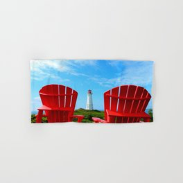 Lighthouse and chairs in Red White and Blue Hand & Bath Towel