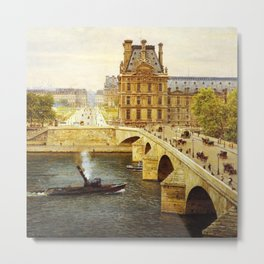 The Pont Royale and The Louvre, View of the Seine by Firmin-Girard Metal Print