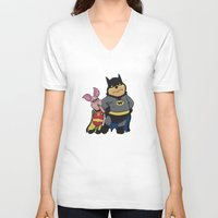 pooh V-neck T-shirts featuring Bat Pooh by thedoormouse