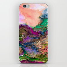 BRING ON BOHEMIA 1 Bold Rainbow Colorful Watercolor Abstract Metallic Accent Summer Peach Pink Green iPhone & iPod Skin