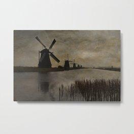 Windmills at Kinderdijk Holland Metal Print
