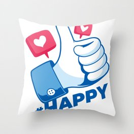 Thumbs up happy saying Throw Pillow