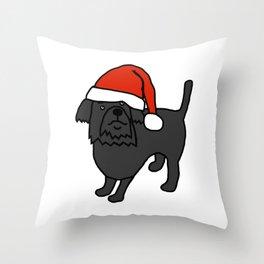Cute dog wearing a Santa hat Throw Pillow
