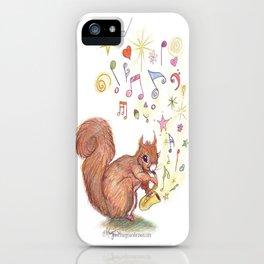 SAXOPHONE SQUIRREL  Music Musical Child's bedroom Present Boy Girl Baby Cure Art Nursery Art Pencil  iPhone Case
