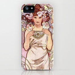 """Alfons Mucha, """" four flowers """" iPhone Case"""