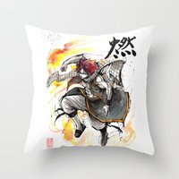 fairy tail Throw Pillows featuring Natsu from Fairy Tail sumi/watercolor by mycks