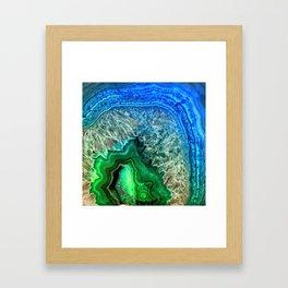 Turquoise Green Agate Mineral Gemstone Framed Art Print