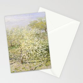 Spring (Fruit Trees in Bloom) (1873) by Claude Monet high resolution famous painting Stationery Cards