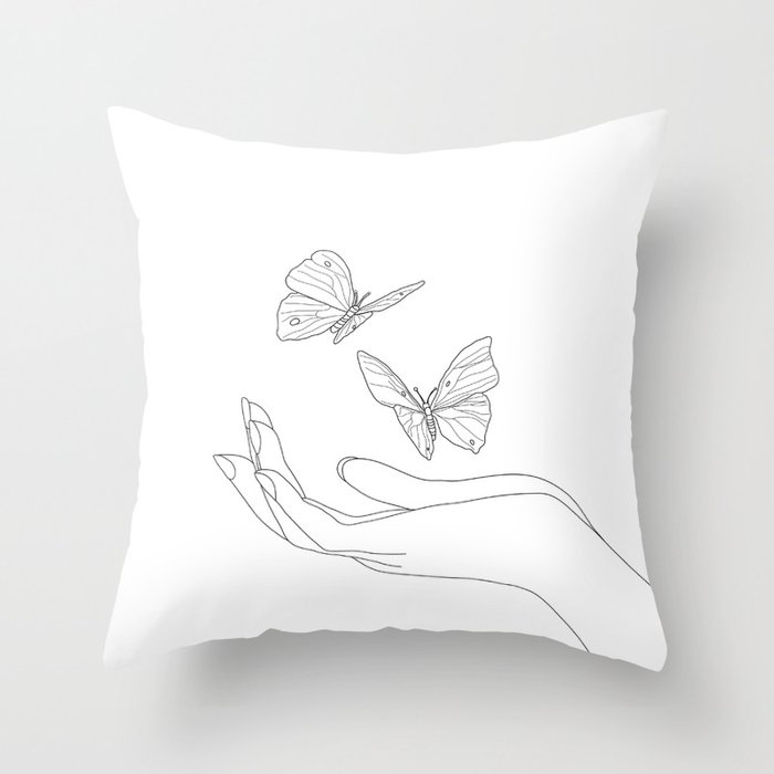 Butterflies on the Palm of the Hand Throw Pillow