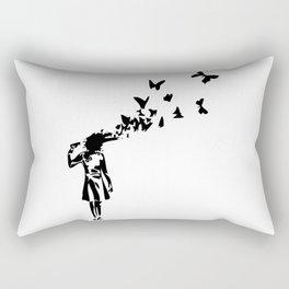 Banksy - Girl Shooting Her Head With Butterfly Design, Streetart Street Art, Grafitti, Artwork, Desi Rectangular Pillow