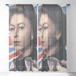 QUEEN ELIZABETH II - British Flag Sheer Curtain