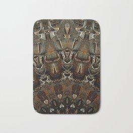 Steel Metal Brushed Bronze Textured Half Mandala Bath Mat