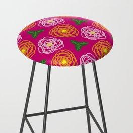 Bright pink floral Bar Stool