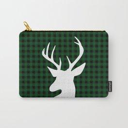 Elegant Green Plaid Deer Design Carry-All Pouch