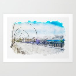 Aquarelle sketch art. The road and lights in Spain, Andalusia Art Print