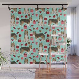 Sheltie shetland sheepdog valentines day love hearts cupcakes dog gifts puppies pet friendly art Wall Mural