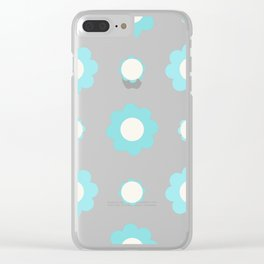 Blue and white flowers over pink Clear iPhone Case