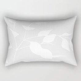 Grey & White Leaves Rectangular Pillow