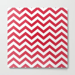 Red Chevron Pattern. Colorful zig zag stripe desig Metal Print