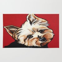 yorkie Area & Throw Rugs featuring Pet/Dog Portrait of Yorkshire Terrier/Yorkie on Red by Cheney Beshara