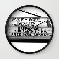 pee wee Wall Clocks featuring Pee Wee tavern sign by Vorona Photography