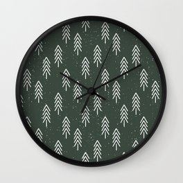 Pine Trees . Olive Wall Clock