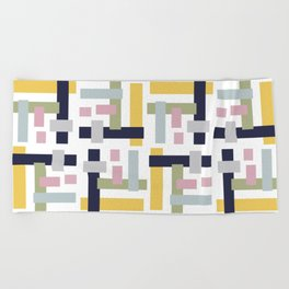 Geo Block Lines Beach Towel
