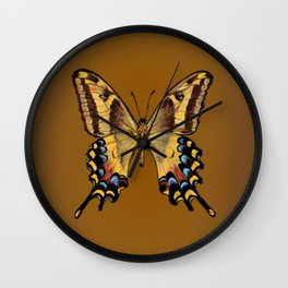 Bahamian Swallowtail Butterfly - Yellow, Black, and Golden Brown Wall Clock
