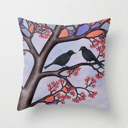 spring crows in the stained glass tree Throw Pillow