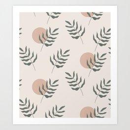 Minimal Palm Leaf Abstract Sun Art Print