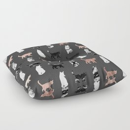 Kitty Cats in Rose Gold and Black and White Marble Floor Pillow