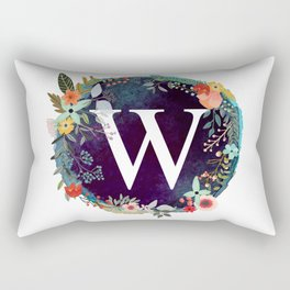 Personalized Monogram Initial Letter W Floral Wreath Artwork Rectangular Pillow