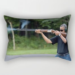 President Barack Obama Shoots Clay Targets at Camp David Rectangular Pillow