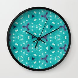 Aqua Purple and White Textured Bubble Abstract Design Wall Clock