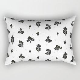 Black Leaves Pattern Rectangular Pillow