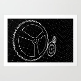 Set of white gears and cogs on virtual screen Art Print