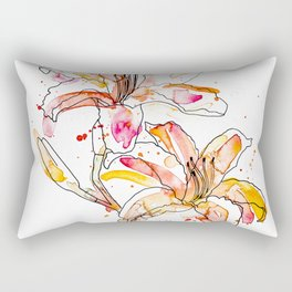 Day Lilies - Watercolor and ink Rectangular Pillow