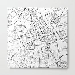 Warsaw Map, Poland - Black and White Metal Print