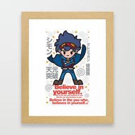 Gurren Lagann - Believe in yourself! Framed Art Print