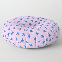 Brandeis Blue on Cotton Candy Pink Stars Floor Pillow