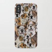 english bulldog iPhone & iPod Cases featuring Social English Bulldog by Huebucket