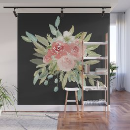 Loose Watercolor Rose Bouquet Dark Background Wall Mural