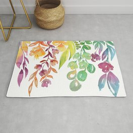 """Colorful ombre watercolor bouquet, """"Lindsay"""" Rug"""