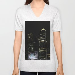Downtown Calgary at night Unisex V-Neck