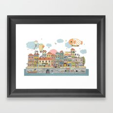 79 Cats in Harbor City Framed Art Print
