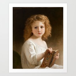 """William-Adolphe Bouguereau """"The Story Book"""" Art Print"""